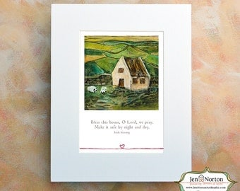 Irish Country Cottage with Irish Home Blessing, Matted Print, 11 x 14
