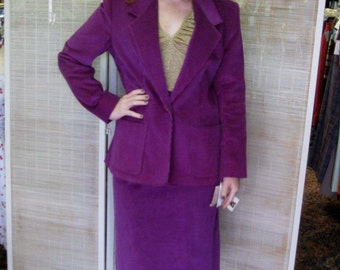 1980s Purple Corduroy Skirt Suit - Man Tailored Style - NWOT - Original Tags