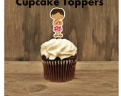 Luau Party- Set of 12 Brunette Hula Boy Cupcake Toppers by The Birthday House