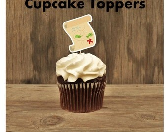 Pirate Boy Party - Set of 12 Treasure Map Cupcake Toppers by The Birthday House