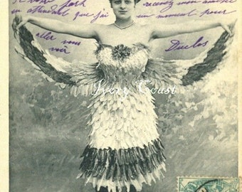 Bird Lady Front Vintage Funny photo. Digital, Download, Image, Instant, Transfer, wings, photograph, handwriting, woman, feathers, #14/PAM