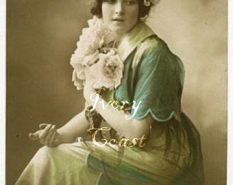 Green Yellow Blue Lady Vintage Postcard Image.  Digital Download.