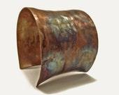 Boho Jewelry / Copper Jewelry / Statement Jewelry / Copper Cuff Bracelet / 2 Inch Tie Dyed Copper Cuff / Artisan Jewelry / Earthy Jewelry