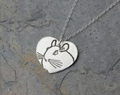 Chinchilla Love necklace - fine silver handmade heart charm with stamped chinchilla on sterling silver chain - free shipping in USA