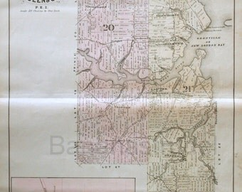 1880 Large Rare Vintage Map of Lots 21 and 20, Queens County, PEI. With Inset of St. Eleanors (Lot 17) - Handcolored