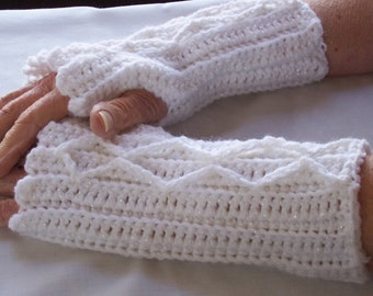 Women's Crochet Mitts, Sparkly Mitts, Fingerless Mitts, Wristwarmers, Washable Wool, Crocheted Cable Mitts, Teen Girl Mitts, White Mittens