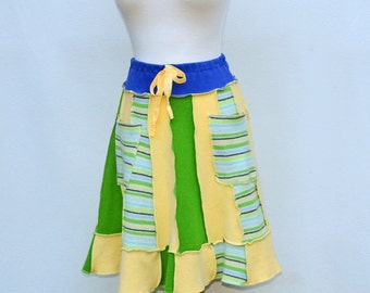 Sweater Skirt Upcycled Women's Warm Wool A-Line Green & Lemon Yellow w Pockets Patchwork Recycle Knee Length Pixie Sunny