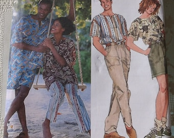 Simplicity 9025 Misses ,Mens,Teen Boys' Pull on Pants or Shorts and Top - UNCUT,Size xs,s,m,