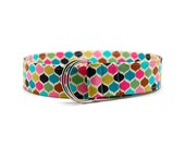Ladies Jewel Tone Dots Fabric Belt in Custom Sizes Small Medium or Large Preppy D Rings Women's Belt Modern and Preppy 1.5 inch Width