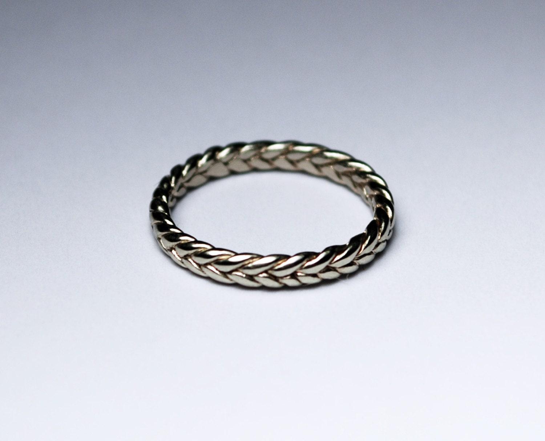 solid 10k white gold thin braid ring by jennifertullwestberg
