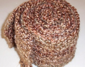 Crocheted Man's Scarf - Men's Brown Fashion Scarf, Men's Apparel, Handmade Scarf, Clothing Accessory - Lion's Brand Yarn in BARLEY Brown