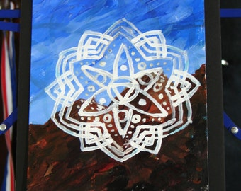 Mountain Streams Mandala - Original Acrylic Painting on Watercolor Paper 7x11 Mounted