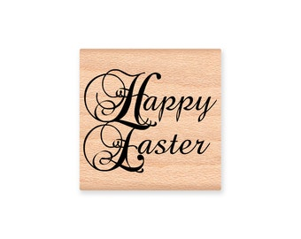 Happy Easter-wood mounted Rubber Stamp (MCRS 28-01)