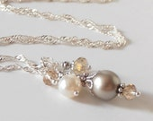 Beige Pearl and Crystal Wedding Jewelry, Bead Cluster Necklace, Taupe Bridesmaid Necklaces, Swarovski Elements, Pearl and Crystal Pendant