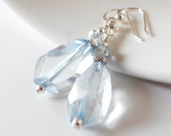 Chunky Blue Quartz Gemstone Earrings, Ice Blue Dangles, Raw Crystal Jewelry, Sterling Silver Earring Wires