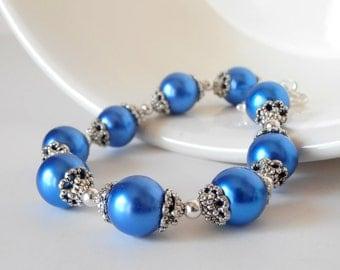 Bridesmaid Bracelets, Horizon Blue Pearl Bracelet Bridal, Cobalt Wedding Jewelry Sets,  Electric Blue Bridesmaid Jewellery, Antiqued Silver