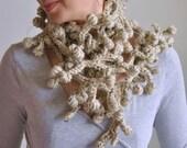 Fiber Art Jewelry crochet neckwear lariat scarf neckpiece statement fashion accessory wearable art Porcupine Tree 2 branches CHOOSE COLORS