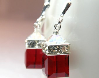 Garnet Crystal Earrings, Sterling Silver, Red Swarovski Cube Drop, Dangle Bridesmaid Wedding Jewelry, January Birthday Birthstone Gift