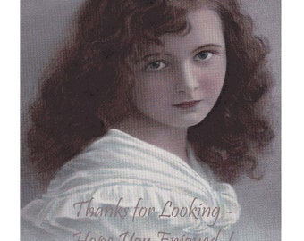 Large Hand Tinted Portrait of A GORGEOUS Long Haired Edwardian Girl - Believe Its GRETE REINWALD  - Stunning Vintage Real Photo Postcard