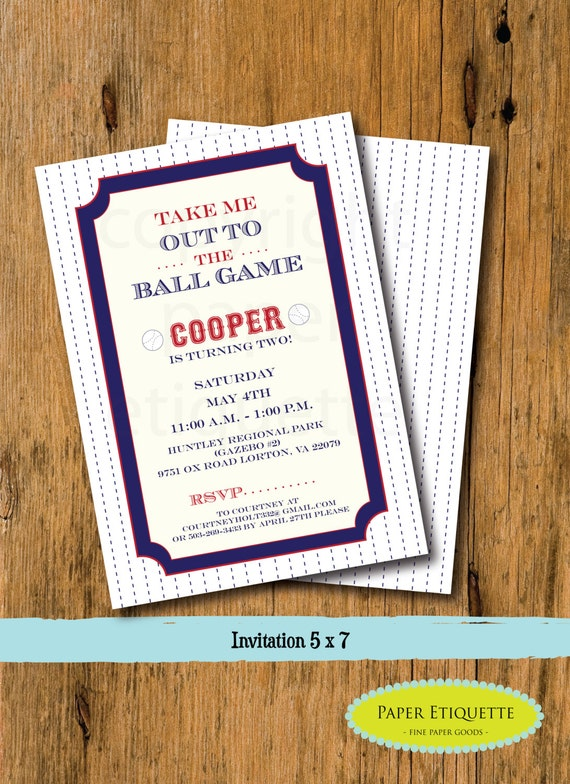 Vintage Baseball Invitations - Baseball Birthday, Baby Shower, Sprinkle or Baseball Party - Print Your Own