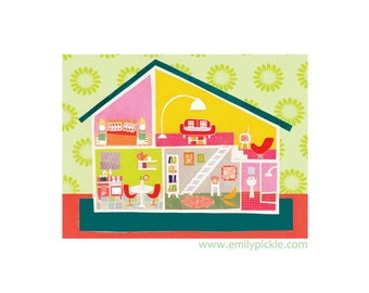 Doll House A3 Print, Vintage, Lundby, Collage, Illustration, Print, Retro, Nursery Art