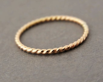 Gold Twist Ring stacking ring thin gold ring thumb ring midi ring gold filled ring