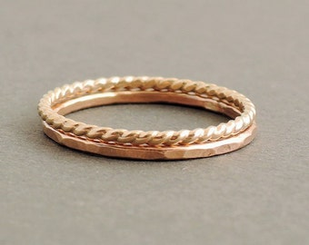 SALE Rose Gold Ring and Gold Twist Ring gift for mum 2 thin stackable rings