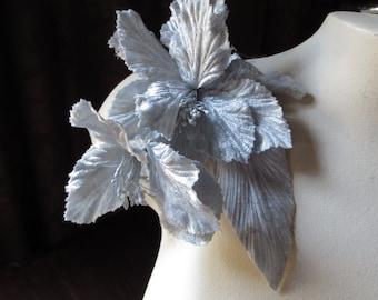Gray Flower Velvet  for Bridal, Hats, Sashes, Costume Design MF119
