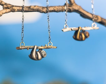 Baby Sloth Pendant on a Silver or Bronze Branch, Hanging from a Sterling Silver Chain.