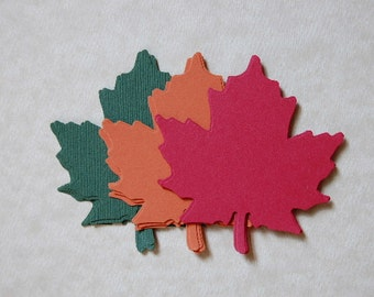Large Paper Leaves in Green,Red and Orange--Set of 15 Leaves--Leaf Punch-Cut Outs-Fall Crafts DIY-Wedding Favor-Place Card- Ready to Ship