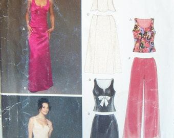 Women's  Evening Top, Skirt and Pants New Look 6428 Women's SALE Pattern, Misses', Formal Wear, Bride Formal Wedding Attire Plus Size 8 - 18