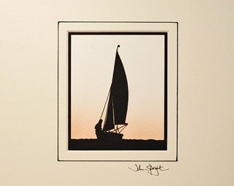 Sailing Dinghy Hand-Cut Papercut