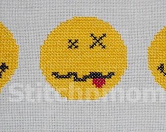 09006 Smiley Trio Emoticon Cross Stitch PDF Pattern - DIGITAL DOWNLOAD