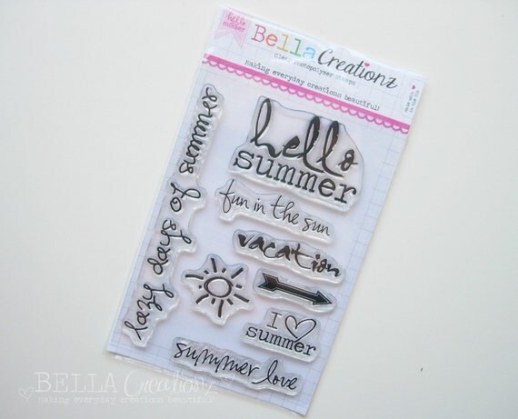 SALE - Hello Summer Stamp Set - Perfect for Project Life, Instagram, Polaroid scrapbook pages or cards.