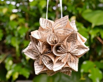 War and Peace Book Small Paper Flower Pomander Ornament