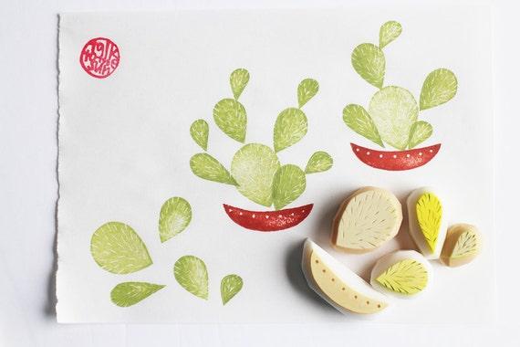 sellos de cactus.  maceta cactus talladas a mano sellos de goma.  sello de la jardinería.  bricolaje cumpleaños / fiesta temática mexicana.  fabricación de la tarjeta / scrapbooking.  conjunto de 5