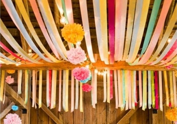 balloon decorating ideas ceiling - Crepe Paper Streamers tissue paper streamers party