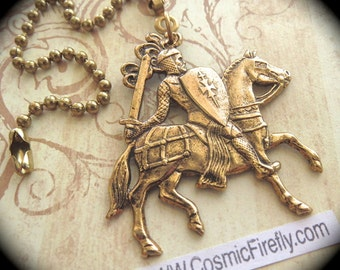 Medieval Knight Fan Pull Chain Steampunk Ceiling Fan Pull Antiqued Brass Metal Fan Pull Gothic Victorian King Arthur Knight On Horse Back