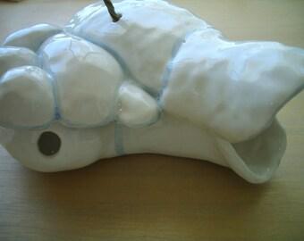 SALE - BIRDHOUSE - Fluffy White CLOUD Ceramic Birdhouse
