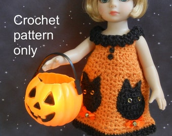 Crochet pattern (PDF) for 10-inch child doll - Halloween dress with cat pockets - Ann Estelle Patsy Tonner Kish Lalaloopsy