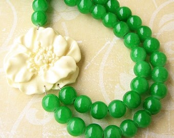 Beaded Necklace Flower Necklace Green Jewelry Statement Necklace Bib Necklace Ivory Jewelry Double Strand Gift For Her