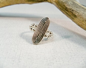 Silver Stretch Band Ring, Antique Silver Ring, Silver Cocktail Ring, Elastic Band Ring, Rhinestone Ring, Stretchy Ring