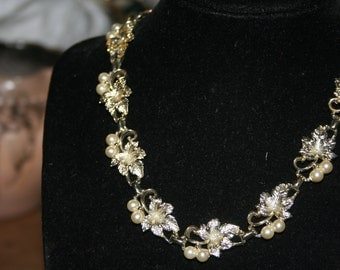 Vintage Pearl Necklace and Earring Set