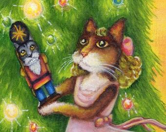 Christmas Cat Art, Clara Nutcracker Ballet Calico Cat Art 8x10 Print