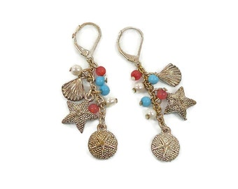 Beach Earrings, Starfish Earrings, Vintage Earrings, Sand Dollar, Sea Shell, Dangle Earrings, Mermaid Jewelry, Brass, Statement, Boho
