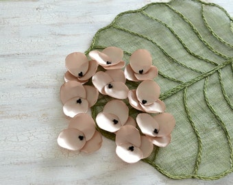 Hydrangea Blossoms-Handmade satin sew on flower appliques (10 pcs)- CHAMPAGNE