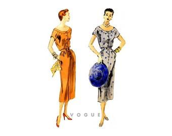 1950s Sheath Dress Pattern Vogue 8042, Vintage Sabrina Neck Dress with Short Sleeves, Pockets & Button Front, Uncut
