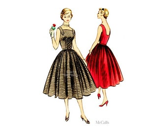 50s Fit and Flare Dress Pattern McCalls 3264, Full Skirt, Square Neckline, Bust 30, Uncut FF, Sundress, Party Dress Easy Sewing Pattern