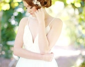 Crystal floral headpiece, bridal headpiece gold, gold headband, bridal - style 1108