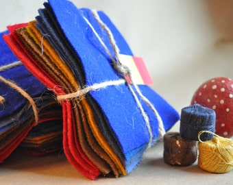 Primitive 4th of July - 13 squares of UPcycled Wool Felt - Primitive Stitching - Blues, Golds, Reds - Sustainable Wool - Made in the USA -